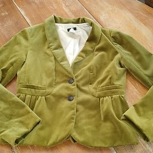 J crew green velvet jacket size Small/6